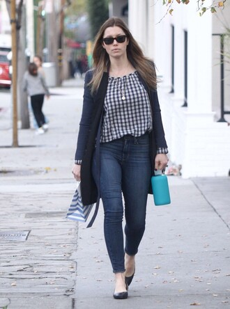 blouse jeans flats jessica biel cardigan coat fall outfits