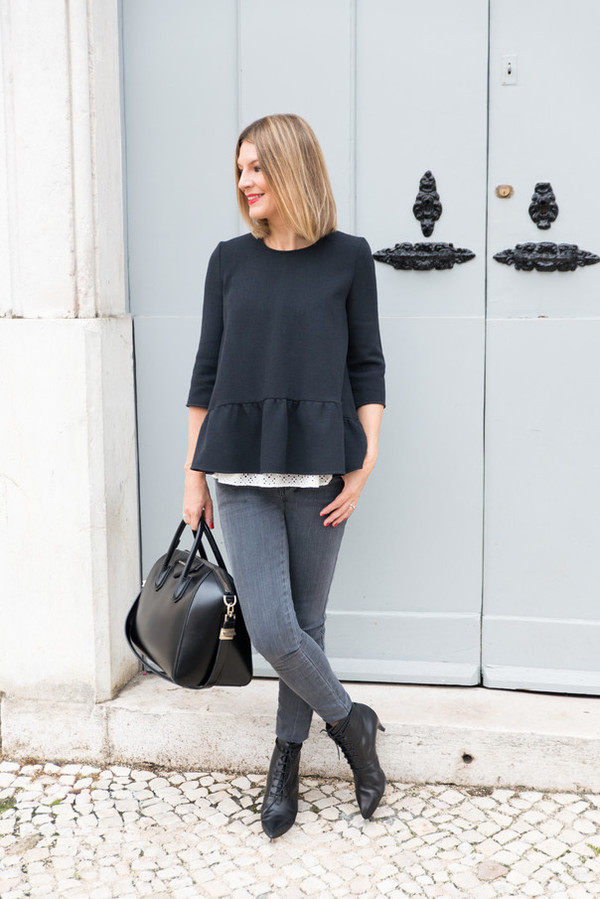 the working girl blogger top cardigan jeans bag jewels mid heel boots