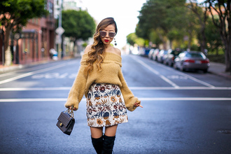 skirt a-line skirt embroidered skirt off the shoulder chanel bag sunglasses earrings blogger blogger style slouchy sweater black knee high boots