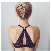 underwear,bralette,top,black top,lace bra,lace top,black lace underwear bra,black lace underwear,sexy black lace underwear,hairstyles,braid,bun