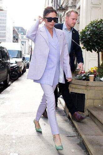 pants lavender victoria beckham suit jacket blazer spring outfits