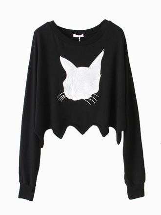 shirt choies black sweatshirt pu