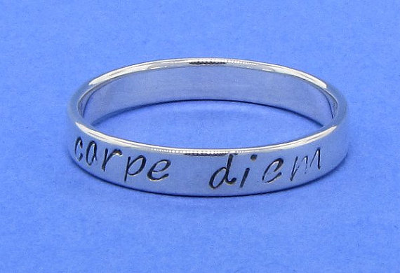 Stamped message Carpe diem seize the day ring by TDNCreations