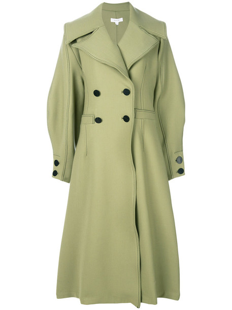 Beaufille coat double breasted women spandex wool green