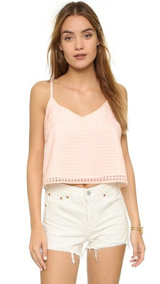 light gingham peach top