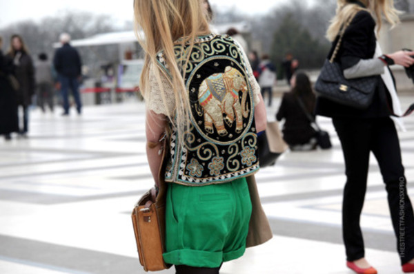 jacket elephant vest embroidered embroidered sweater
