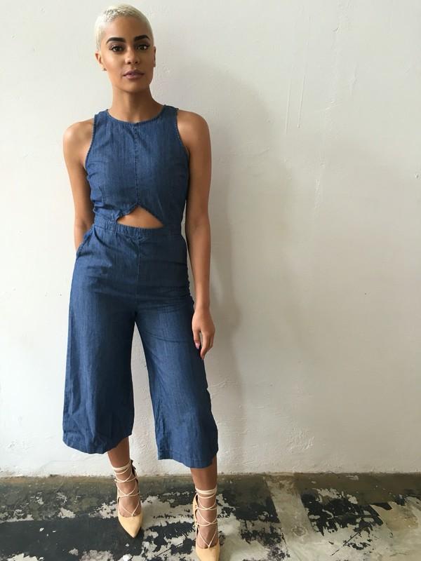 romper culottes jumpsuit denim jumpsuit blue jumpsuit