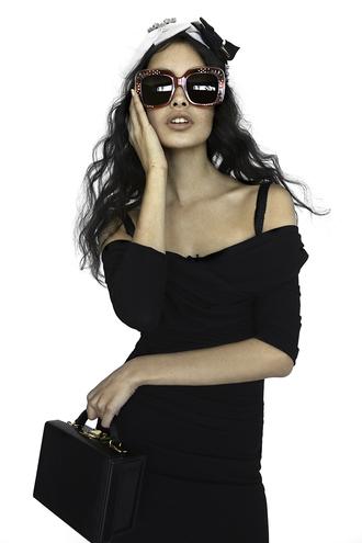 style me romy blogger dress sunglasses bag shoes belt jewels red sunglasses off the shoulder black dress long sleeves black bag