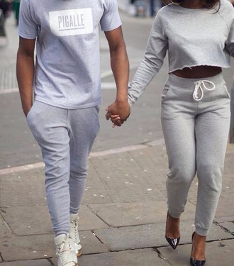 couple dope wishlist all grey drawstring pants pigalle grey sweatpants grey sweater sweatpants joggers cropped hoodie grey tracksuitbottoms outfit made sweater gray joggers gray pants