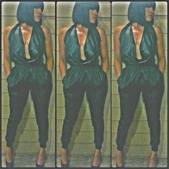 pants leather black deep cut two-piece halter neck high waisted sweatpants shirt