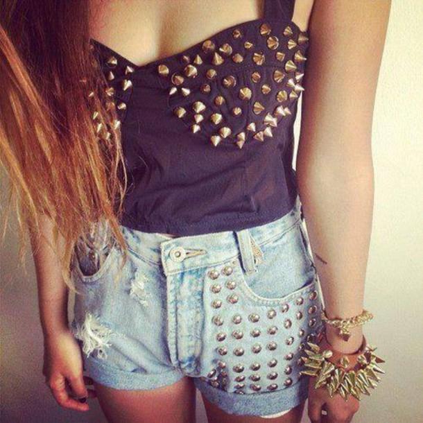 shirt shorts jewelry shorts t-shirt pants tank top tank to clous denim shorts top clouté swag jewels t-shirt underwear