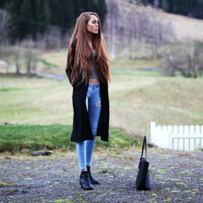 Jeans Coat Tumblr Jeans Black Boots Coat Cute