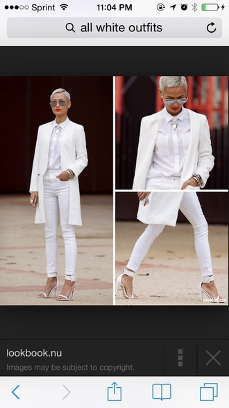 blouse jacket all white everything shirt all white outfit white shirt white pants white jacket white coa white jeans white white coat dope cute white t-shirt white heels white top fashion jewels top shoes fierce