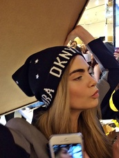black,cara delevingne,dkny,sold out,fashion,beanie
