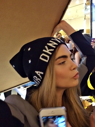 black cara delevingne dkny sold out fashion beanie