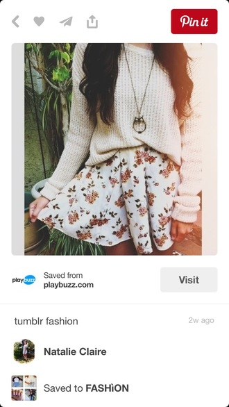 sweater white floral skirt circle skirt outfit cute white sweater knitted sweater floral skirt patterned skirt skater skirt cream flared skirt flowers cute sweaters baggy sweaters oversized sweater