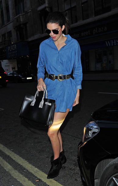 shirt denim shirt shirt dress kendall jenner belt ankle boots