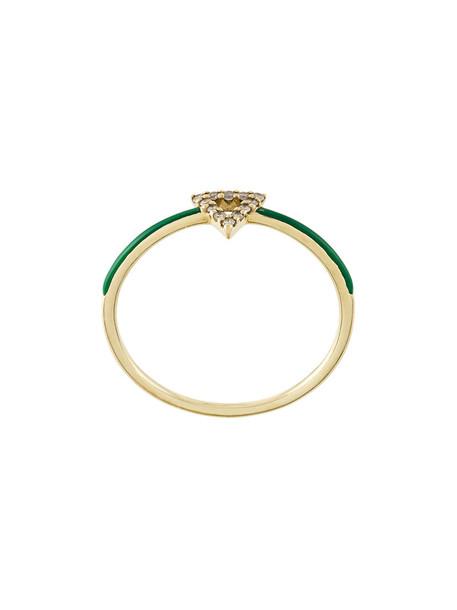 Gisele For Eshvi triangle women ring gold yellow grey metallic jewels