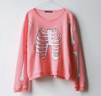 sweater pink swater white pls skeleton bone bones lovely bones light pink