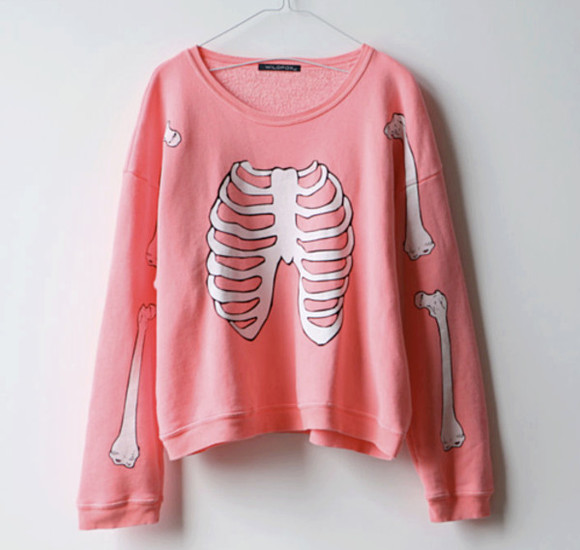 pink pale pink white sweater swater pls skeleton bone bones lovely bones