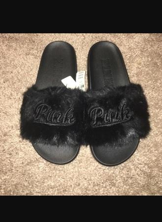 shoes victoria's secret sandals black faux fur summer spring black sandals women girl