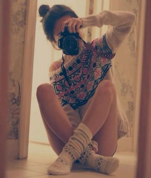 winter outfits sweater underwear fashion camera socks