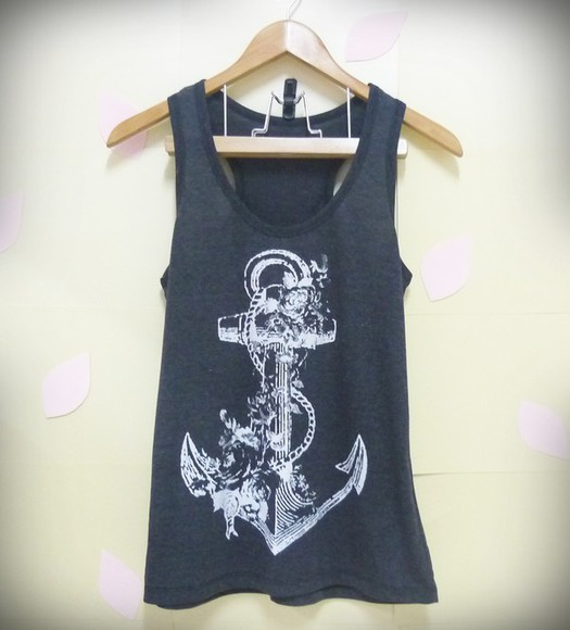 tank top singlet anchor shirt flower shirts vintage tank tops thin shirt shirts