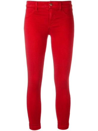 jeans skinny jeans cropped women spandex cotton red 24