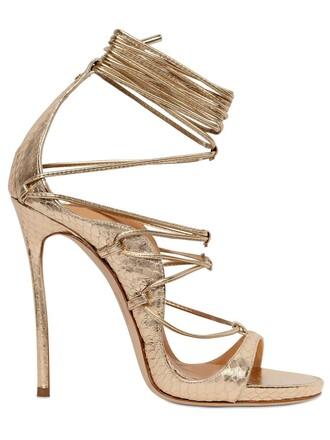 sandals lace gold shoes