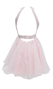 dress,pink homecoming dresses,sleeveless homecoming dresses,haltered homecoming dresses,sheer back homecoming dresses,beaded homecoming dresses,above-knee homecoming d