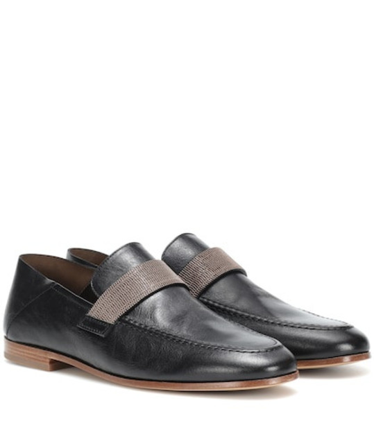 Brunello Cucinelli Embellished leather loafers in black