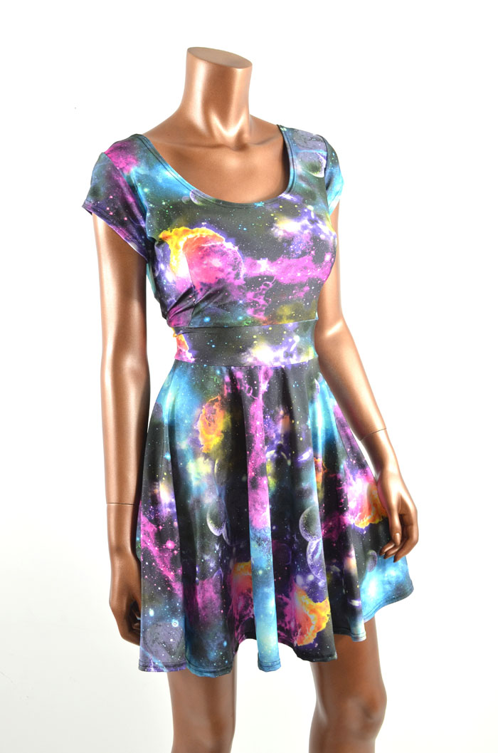 Uv glow galaxy print skater dress