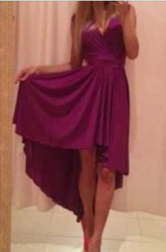 dress burgundy high low