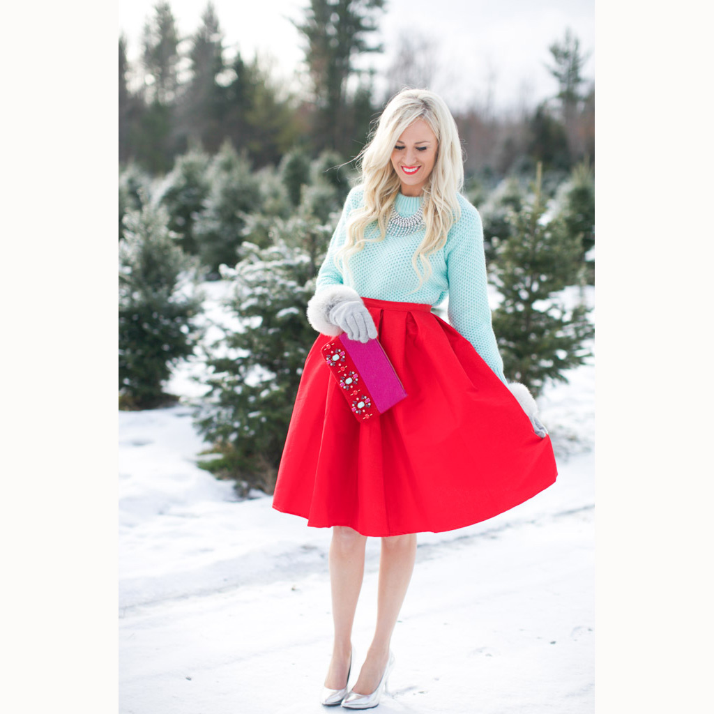 Rose Pleated Midi Skirt in Red - Retro, Indie and Unique Fashion