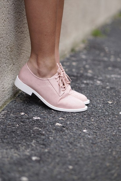 shoes pink flats lace up loafers