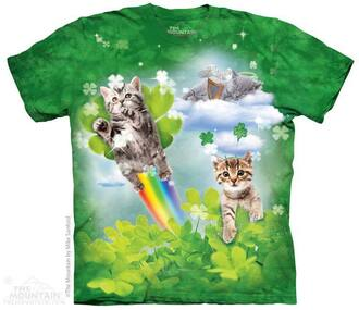 shirt kawaii cute 90s style grunge fairy kei pastel kittens flying kittens flying cats green lucky st patricks clovers pot of gold sky tie dye fantasy