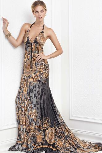 dress baccio black gold print resort wear silk dresses