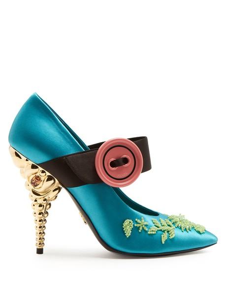 Prada embellished pumps satin blue shoes