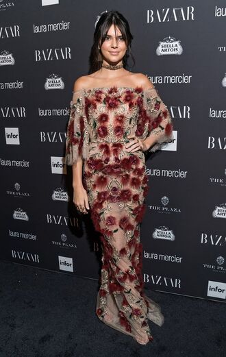 dress kendall jenner gown off the shoulder kardashians model off-duty ny fashion week 2016 floral dress floral lace dress lace