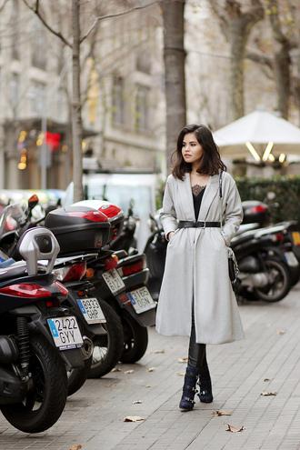 fake leather blogger belt winter boots long coat classy