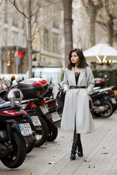 fake leather blogger belt winter boots long coat classy coat tank top shoes bag leggings jewels