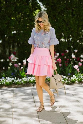 skirt mini skirt ruffle skirt sandals blouse striped blouse ruffle sleeves satchel bag embroidered blouse blogger blogger style
