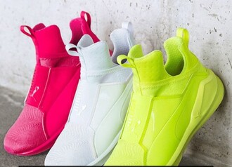 shoes puma white pink neon green trainers trendy summer workout gym comfy high top sneakers