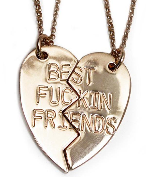 jewels bff necklace half two-piece bff best fuckin friends perfect sweet cute