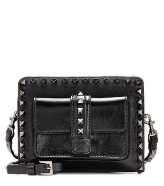 Valentino Rockstud Noir Small Leather Shoulder Bag in black