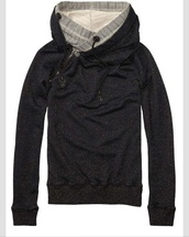 jacket,north face,grey sweater,cowl neck,kangaroo pocket,charcoal,knitted hood,double layered