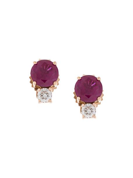 Jemma Wynne rose gold rose women earrings stud earrings gold red jewels
