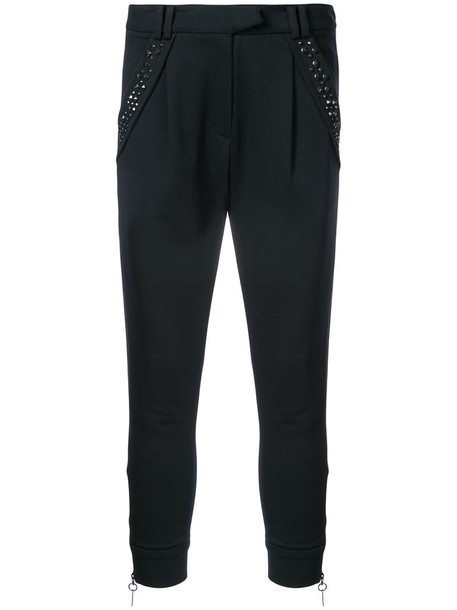 Thomas Wylde women spandex cotton black silk pants
