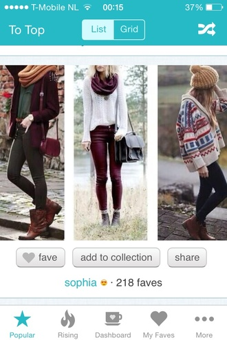jeans burgundy dark green white sweater knit leather jeans fall outfits winter outfits knitted scarf cardigan