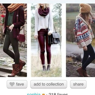 jeans knitted scarf cardigan knitwear fall outfits burgundy dark green white sweater leather jeans autumn fasion winter fashion burgundy scarf red